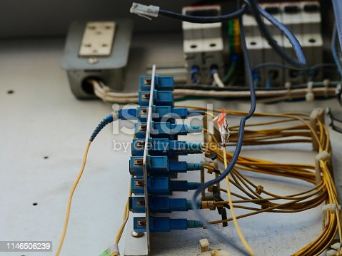 istock Closeup of old fiber optic cable out door 1146506239