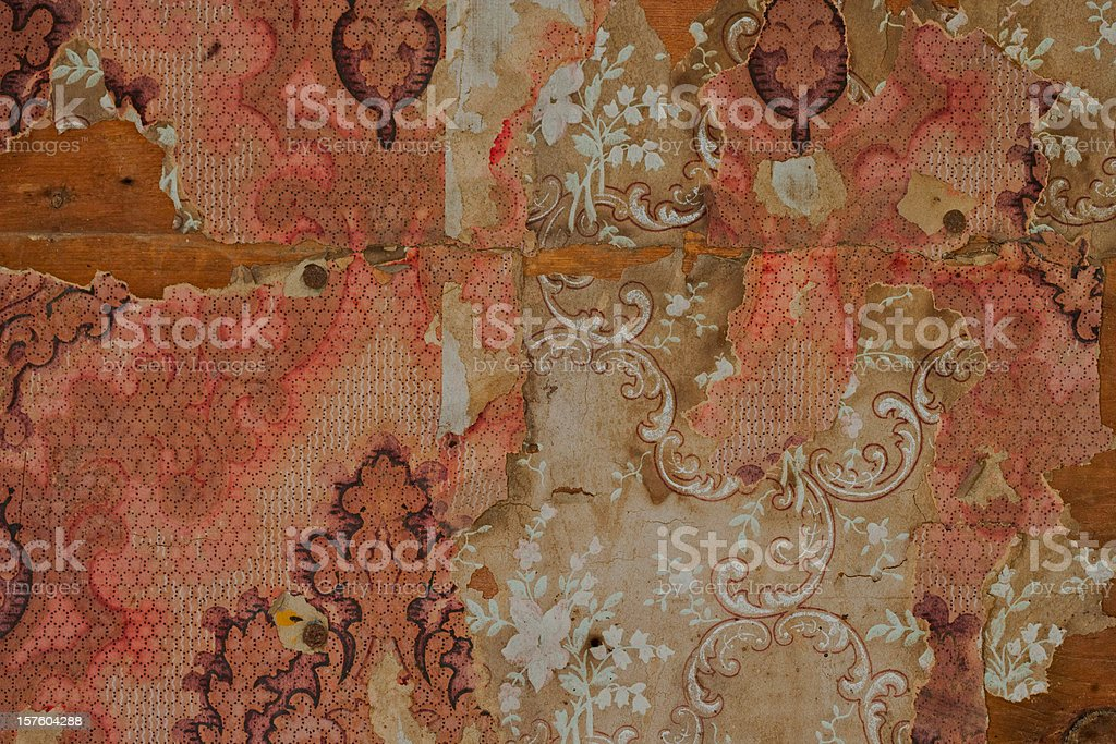Close-up of Old Peeling Wallpaper royalty-free stock photo