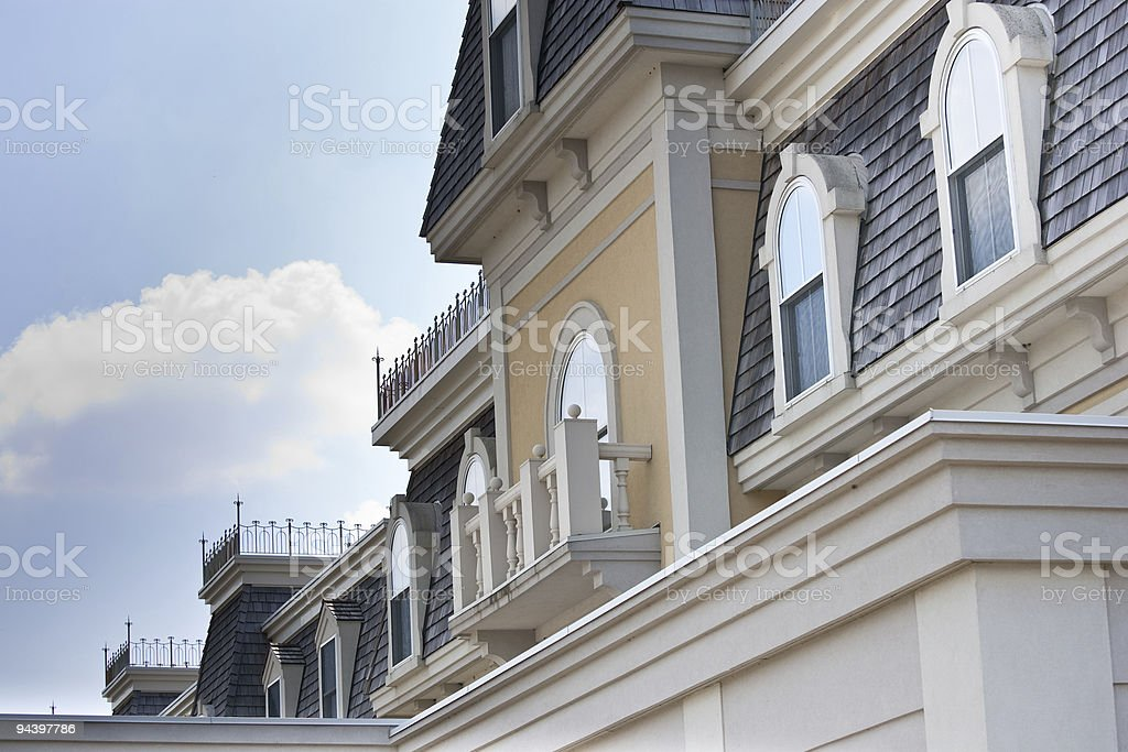 Closeup of old 'Second Empire' style building royalty-free stock photo