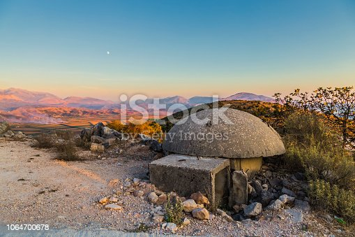 Close-up of one of the countless military concrete bunkers or dots in the southern Albania  built during the communist government of Enver Hoxha