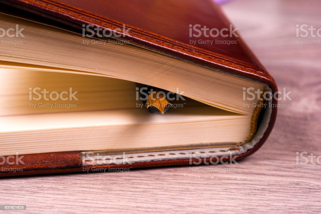 Close-up of open book and pen. stock photo