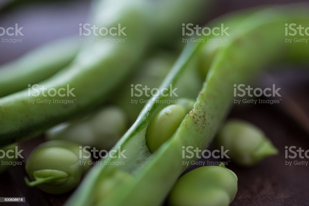 Close-up of open fava beans stock photo