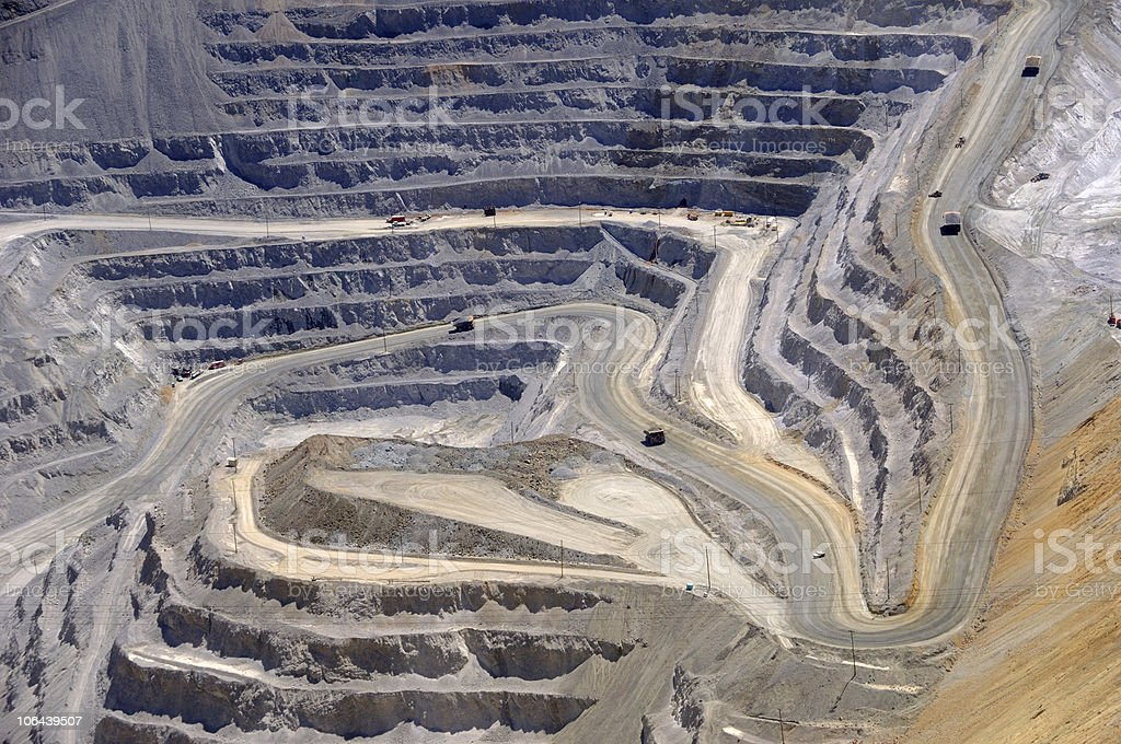 Close-up of Open Pit Copper Mine stock photo