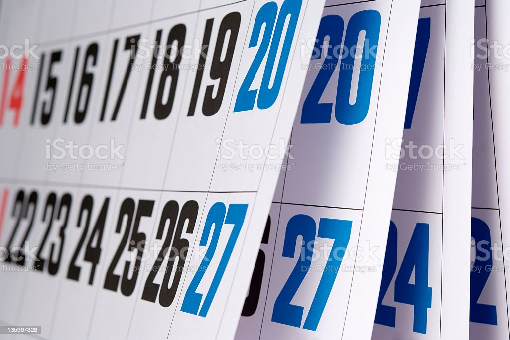 Close-up of opened calendar with shallow depth of field royalty-free stock photo
