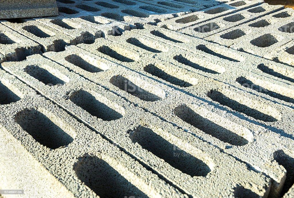Closeup of openwork concrete blocks. (Selective Focus) stock photo