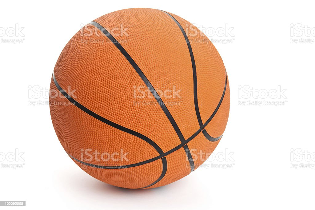 Close-up of orange basketball sitting on white background stock photo