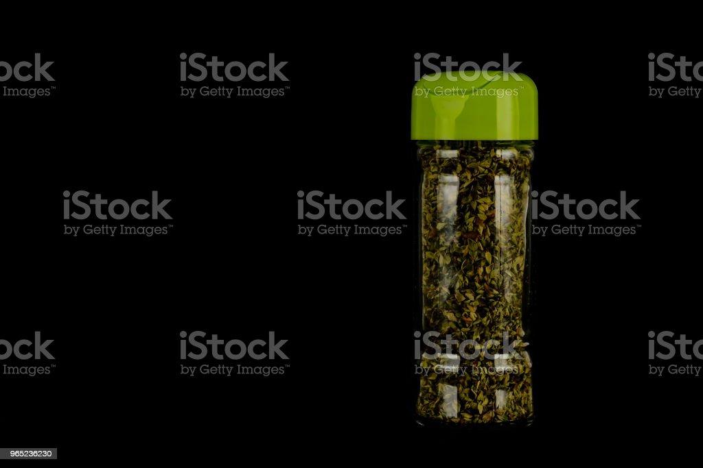 Close-up of oregan spice bottle zbiór zdjęć royalty-free