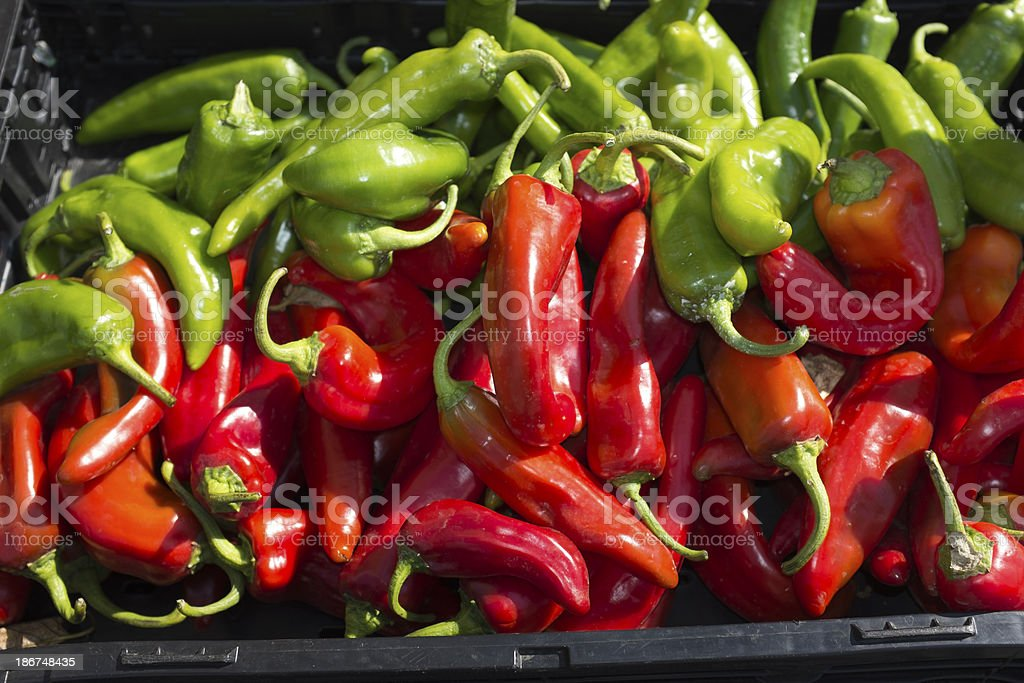 Close-up of Organic Peppers at Farmer's Market stock photo