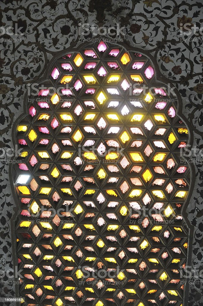 Close-up Of Ornate Stained Glass Window royalty-free stock photo