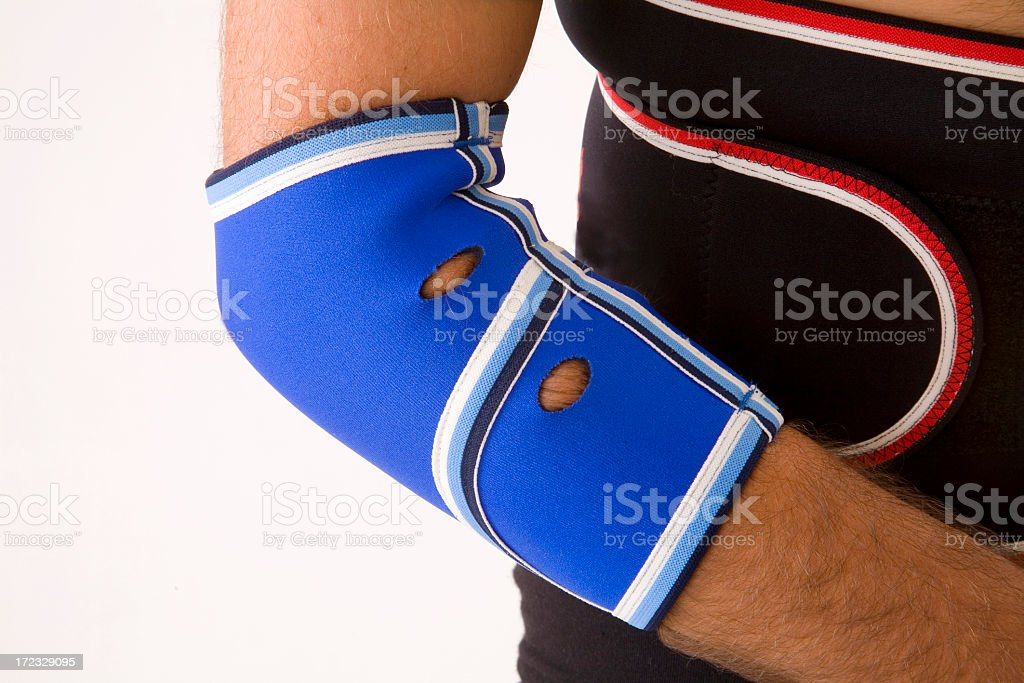 Close-up of orthopedic equipment on a person's elbow royalty-free stock photo
