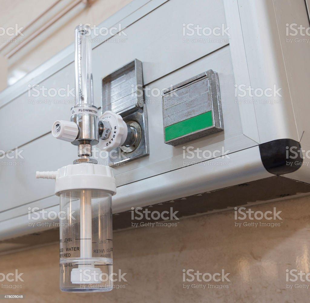 Closeup of oxygen flowmeter in hospital stock photo