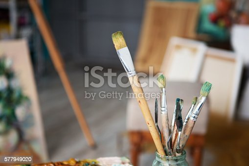 istock Closeup of painting brushes 577949020