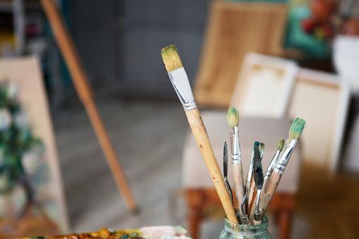 577949148 istock photo Closeup of painting brushes 577949020