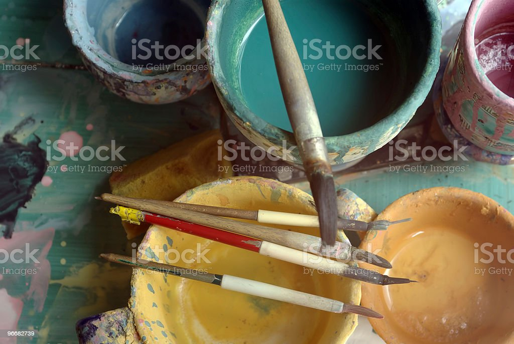 Close-up of painting set with brushes and ink stock photo