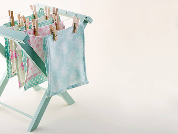Closeup of pastel color laundry with copy space stock photo