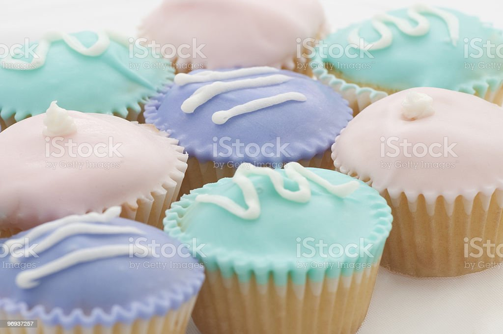 Closeup of Pastel Colored Cupcakes royalty-free stock photo