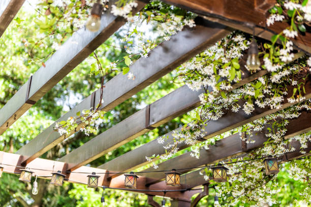closeup of patio outdoor spring flower garden in backyard porch of home, zen with pergola canopy wooden gazebo, plants - chiosco foto e immagini stock