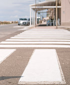 close-up of pedestrian crossing zebras
