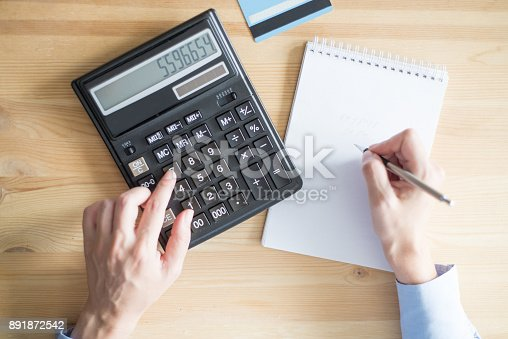 645670208istockphoto Closeup of Person Using Calculator and Writing 891872542