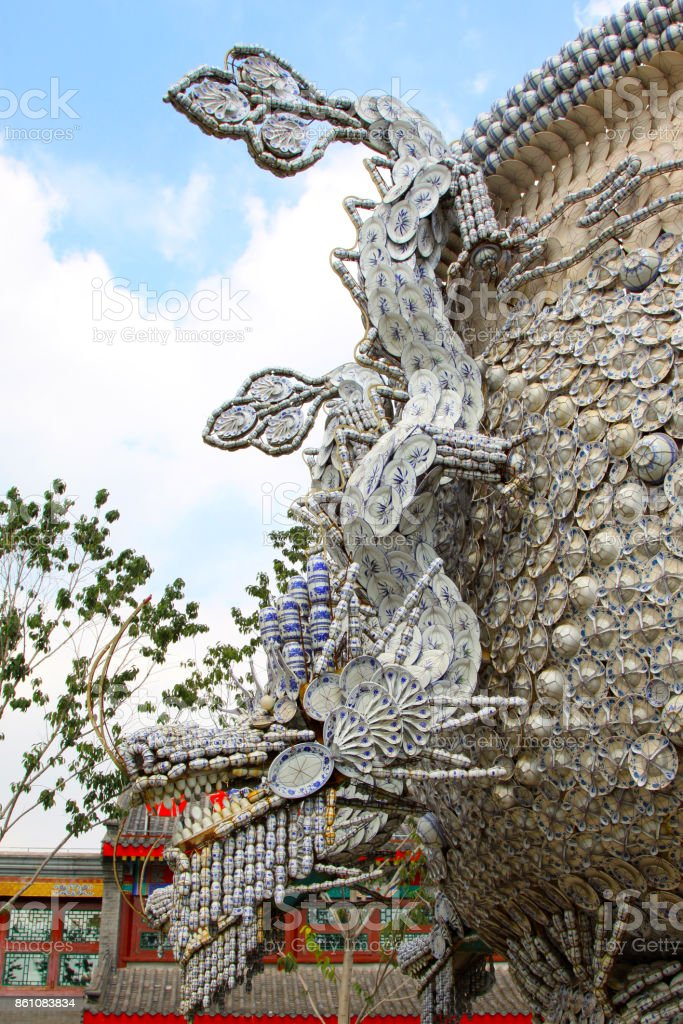 closeup of photo, Ceramic products are combined into a dragon shape modeling stock photo