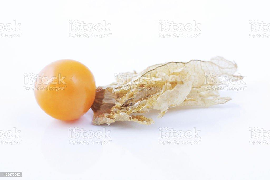 Close-up of physalis fruit on white background stock photo