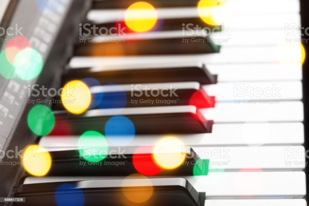 Close-up of piano keyboard. stock photo