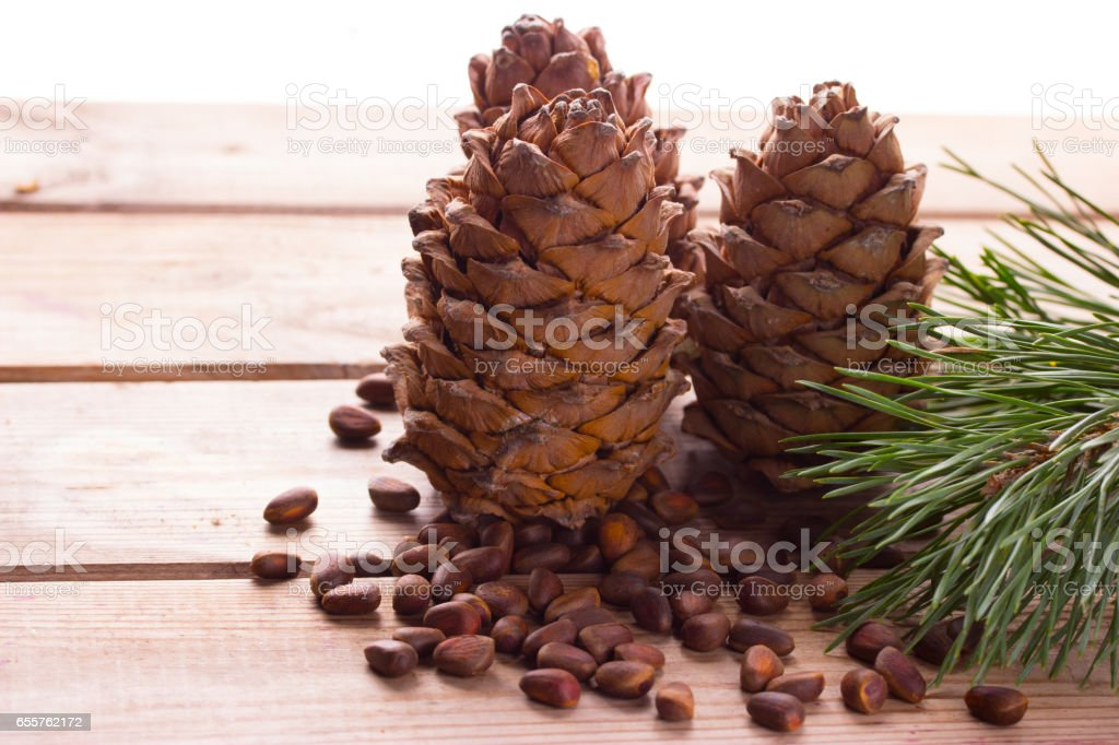 Closeup of pignolia nut stock photo