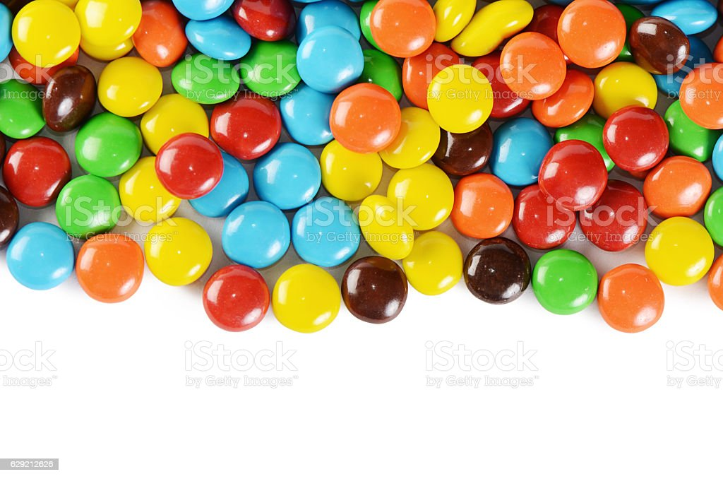 Closeup of pile colorful chocolate candies – Foto