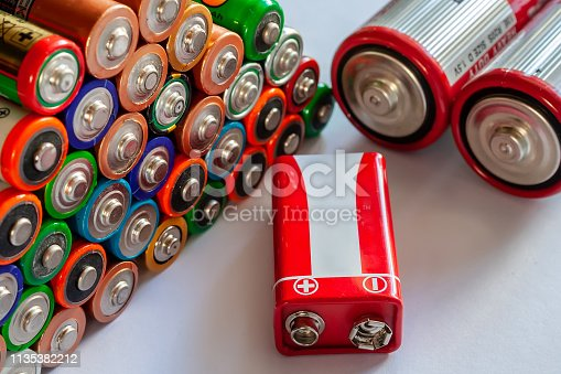 istock Closeup of pile of used alkaline batteries. Several  in rows. 1135382212