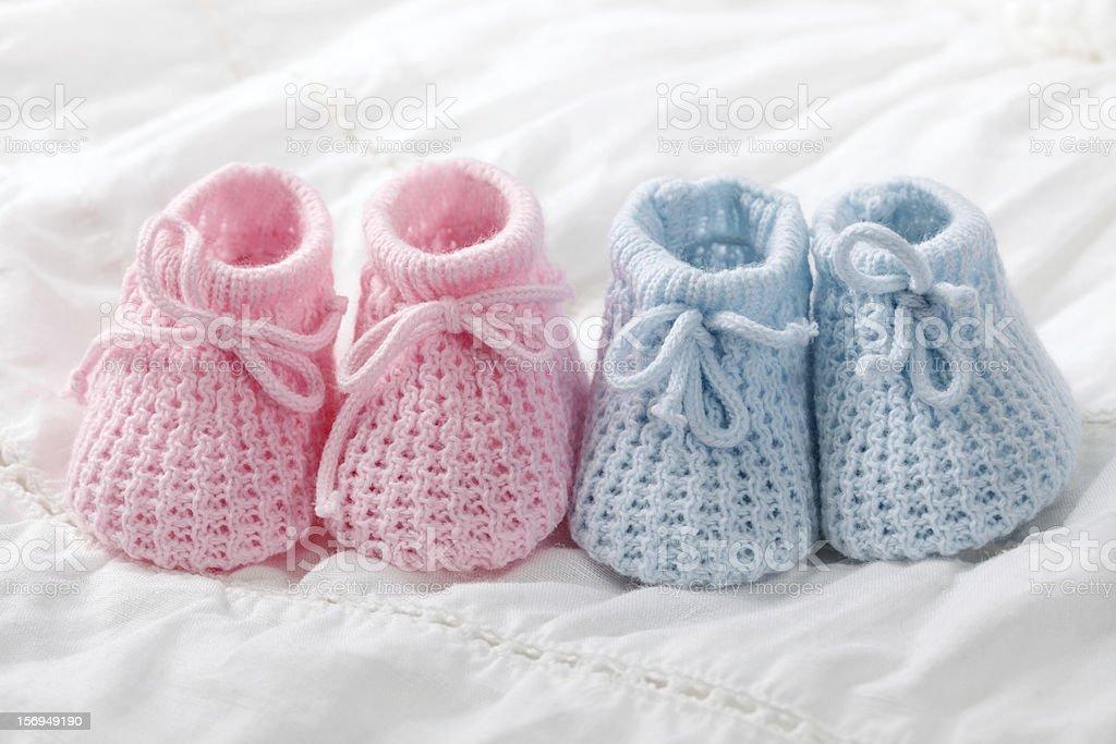 Blau und Rosa baby booties – Foto