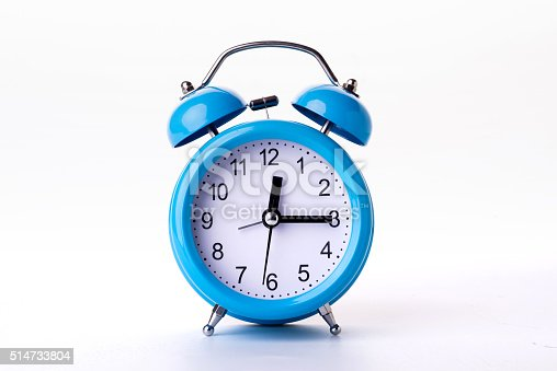 istock Close-up of Pink Table Alarm Clock on White Background 514733804