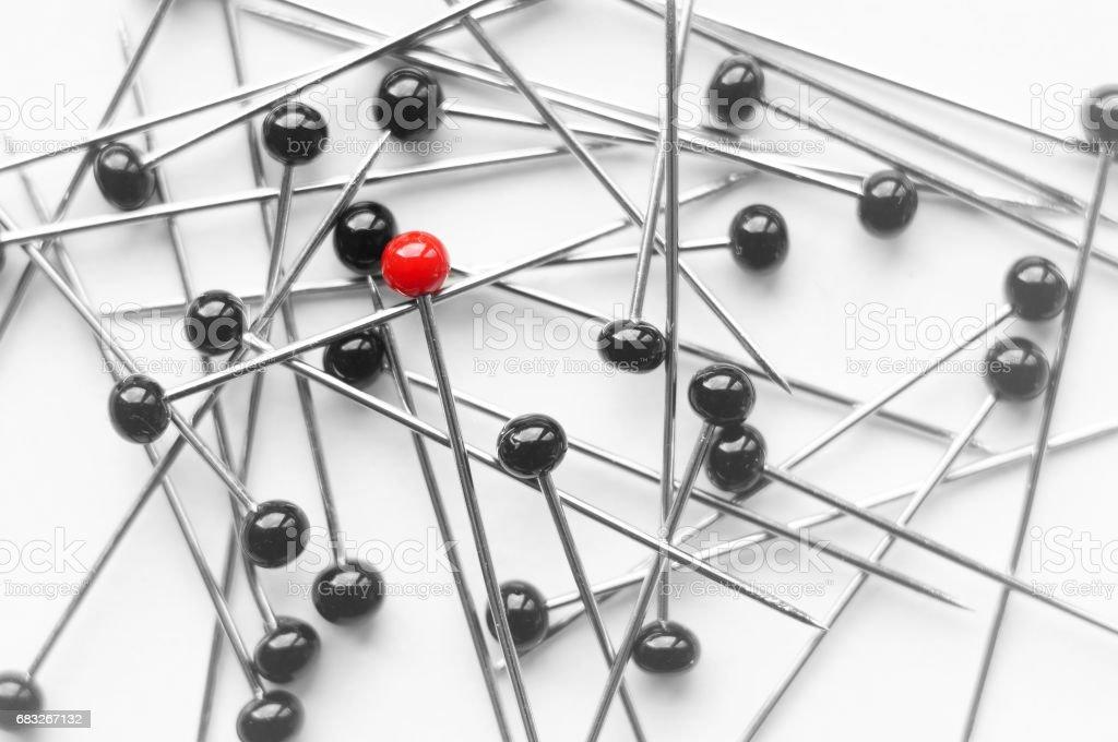closeup of pins - one red pinhead 免版稅 stock photo