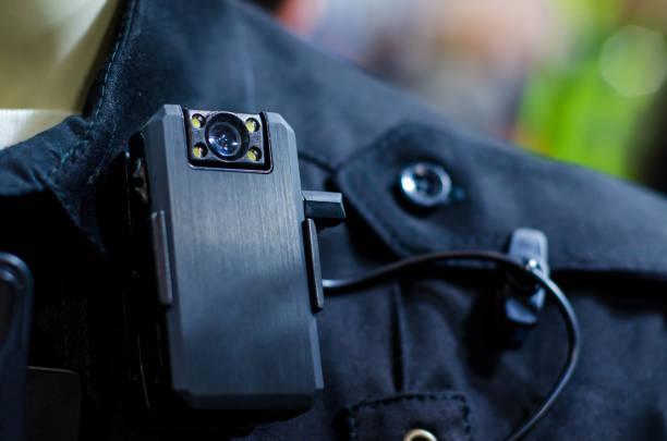Close-up of police body camera stock photo