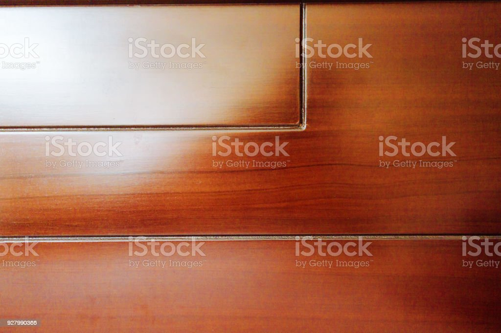 Close-up of polished wooden bed backrest stock photo
