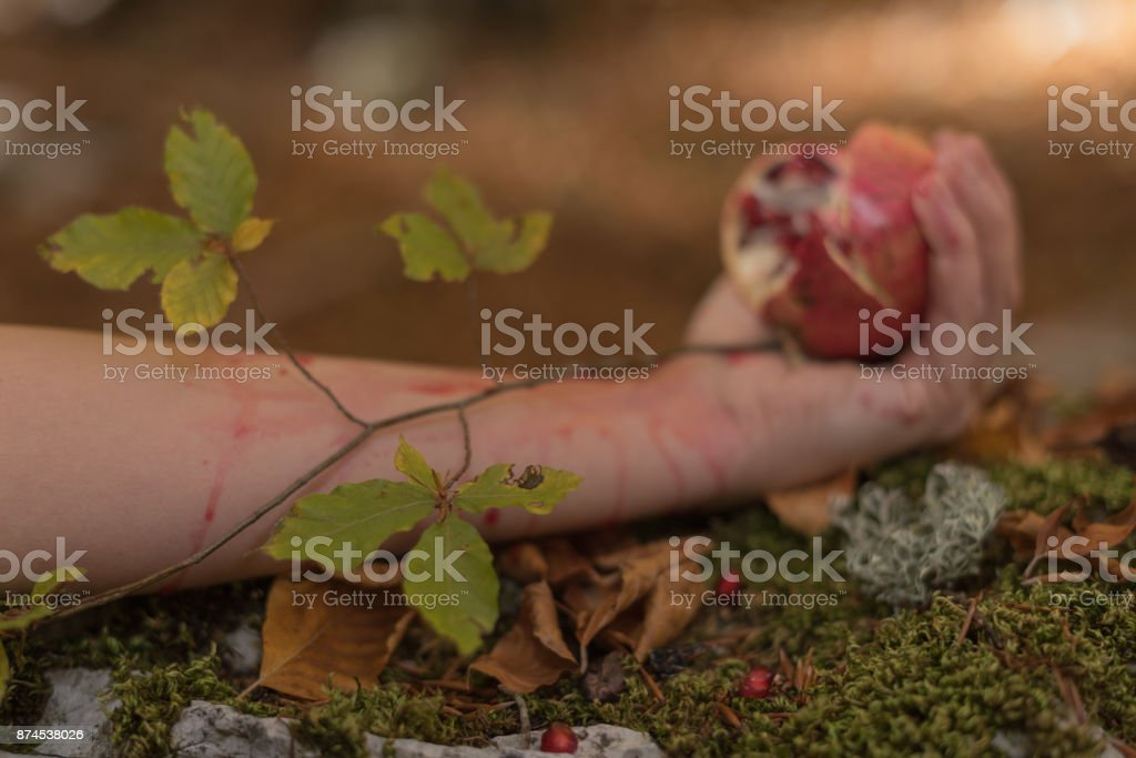 Closeup of Pomegranate in woman's hand. Autumn, Mediterranean forest. stock photo