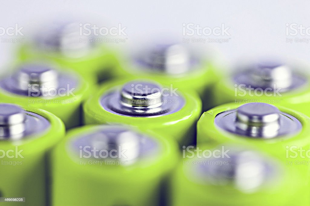 Close-up of positive side of batteries stock photo