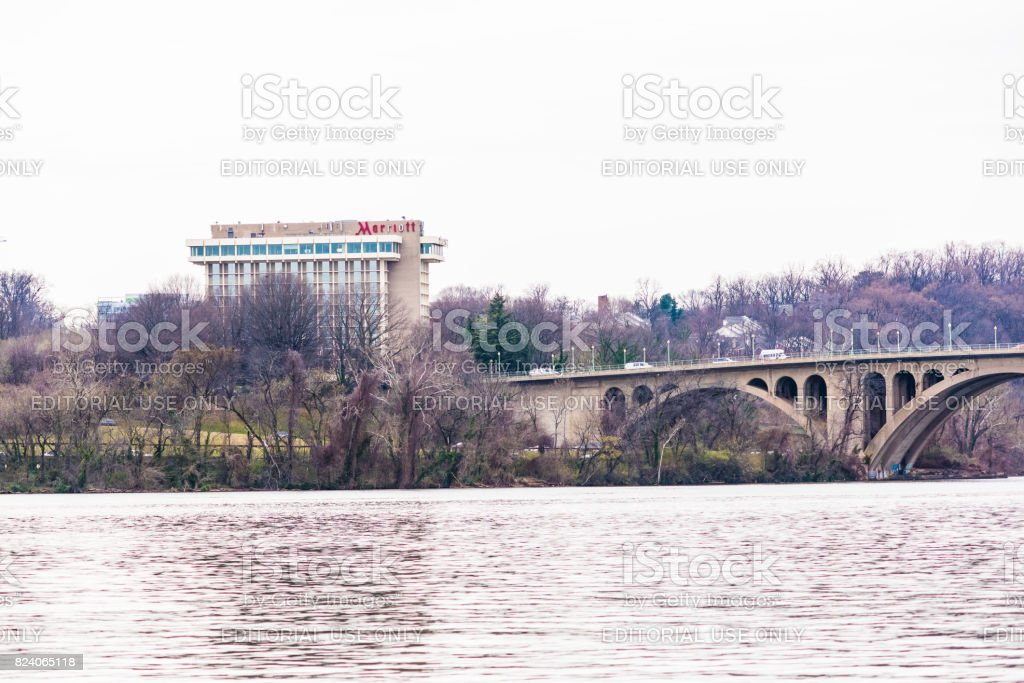 Closeup of Potomac river key bridge with Marriot Hotel in Arlington stock photo