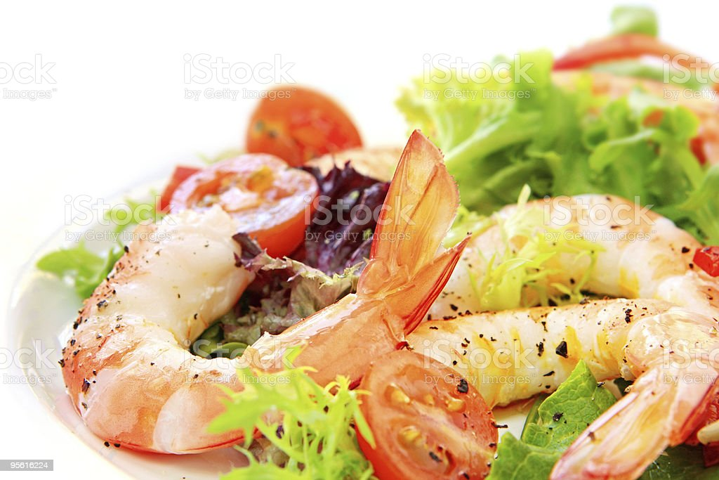 Closeup of prawn and shrimp salad on side plate royalty-free stock photo