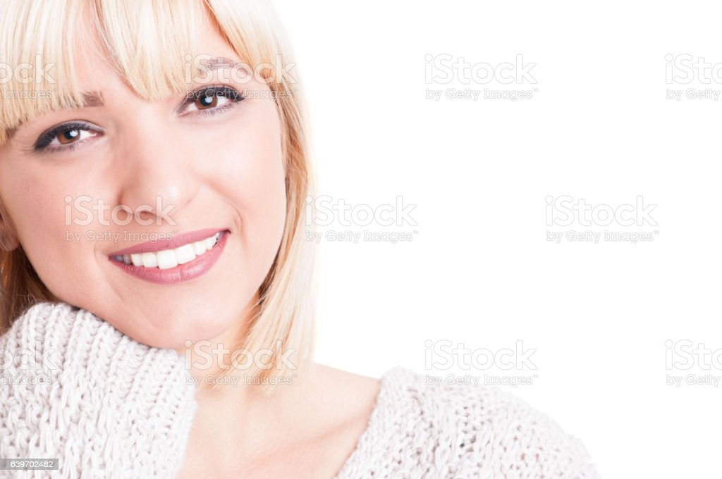 Close-up of preety blonde girl posing and smiling stock photo