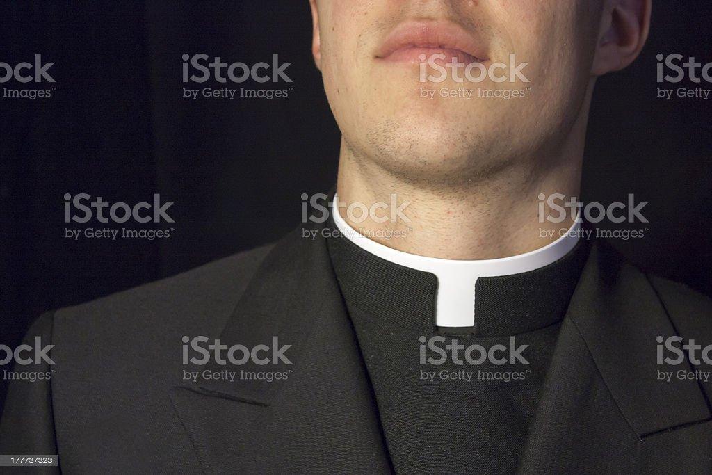 Close-up of Priest collar stock photo