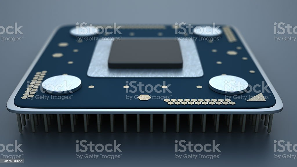 close-up of Processor unit CPU concept 3d render stock photo