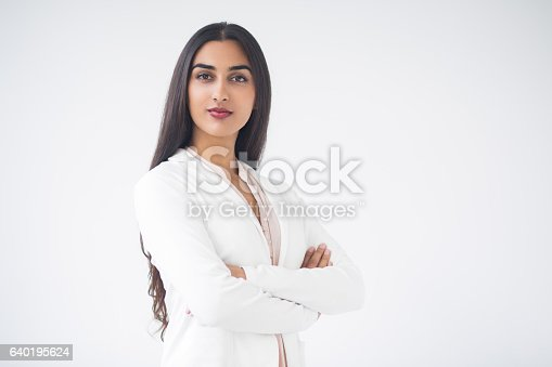 istock Closeup of Proud Gorgeous Indian Business Woman 640195624