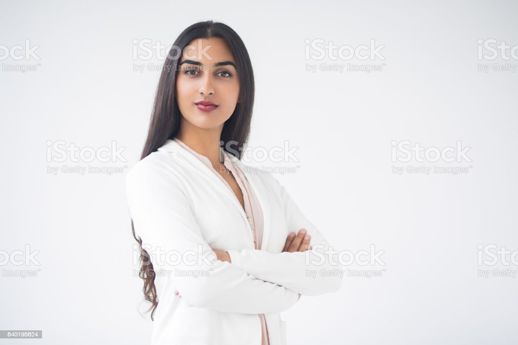 Closeup of Proud Gorgeous Indian Business Woman stock photo