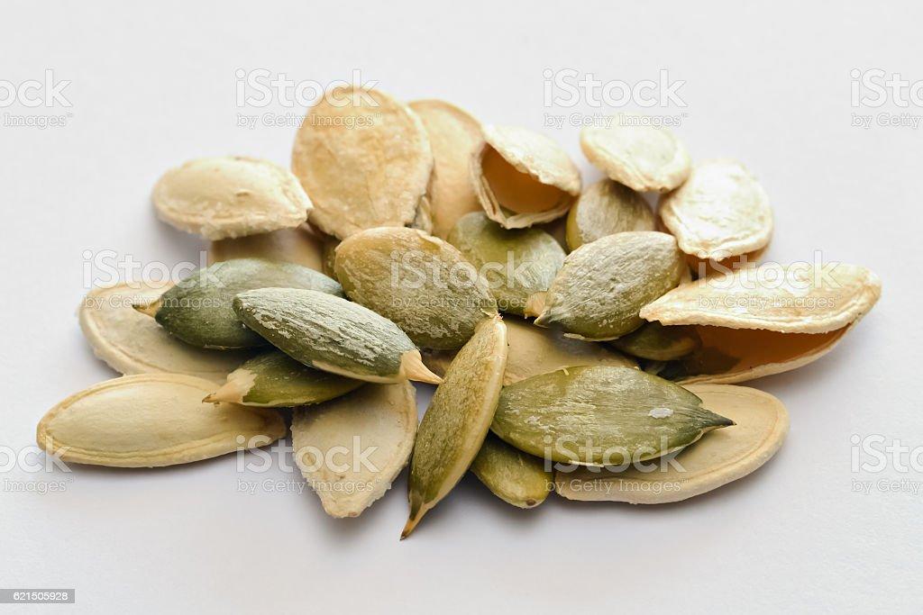 Closeup of pumpkin seeds Lizenzfreies stock-foto