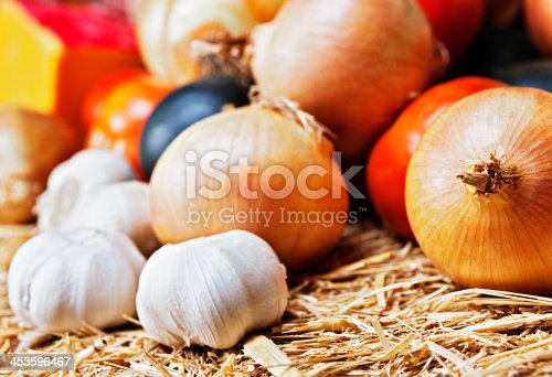 Rustic collection of fresh produce vital for flavoring, including garlic, onions and tomatoes, resting on straw at a Farmers Market.