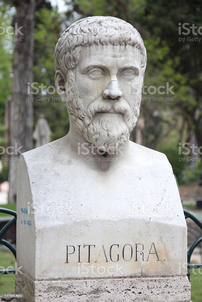 Close-up of Pythagoras bust sculpture at an outdoor park stock photo