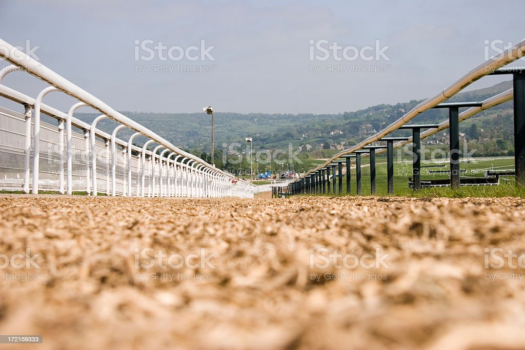 Close-up of racetrack surface and barriers royalty-free stock photo