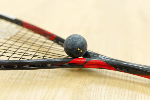 closeup of racquetball equipment stock photo