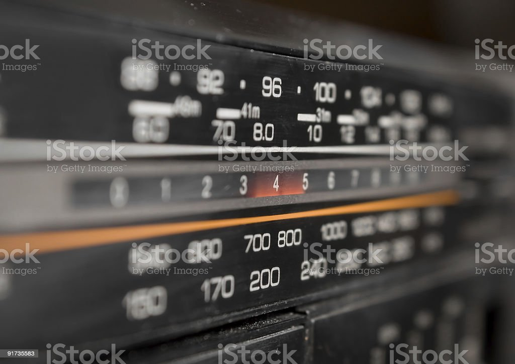 Close-up of radio display stock photo