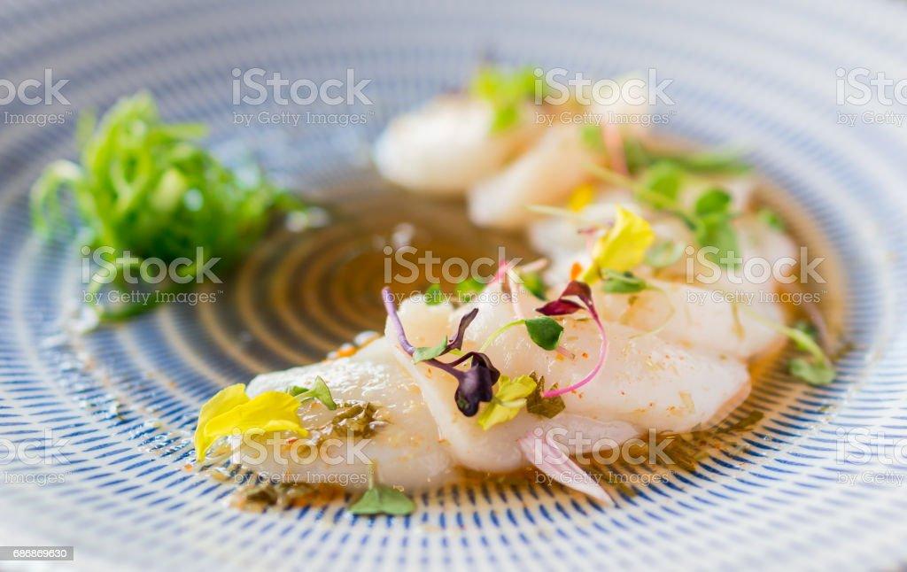 Closeup of raw scallops fine dining. stock photo